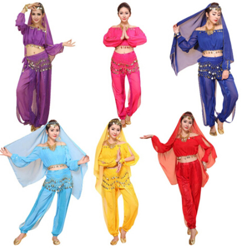 2Pcs/set Winter/Spring Party Dress Dancewear Women Belly Dance Costume Set Indian Dance Costumes Bollywood Dress(Top+pants)