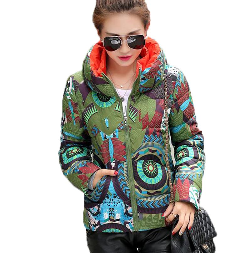 ФОТО New 2017 winter cotton Coat Women Cotton jacket stand Collar Thick print slim Coat Outwear CE0366