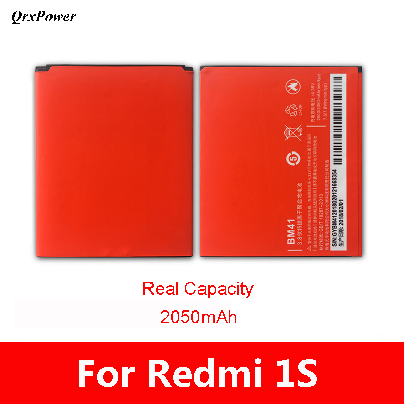 <font><b>Original</b></font> BM41 Mobile Phone <font><b>Battery</b></font> For <font><b>Xiaomi</b></font> <font><b>Redmi</b></font> <font><b>1S</b></font> Real Capacity 2050mAh Replacement Li-ion <font><b>Battery</b></font> image