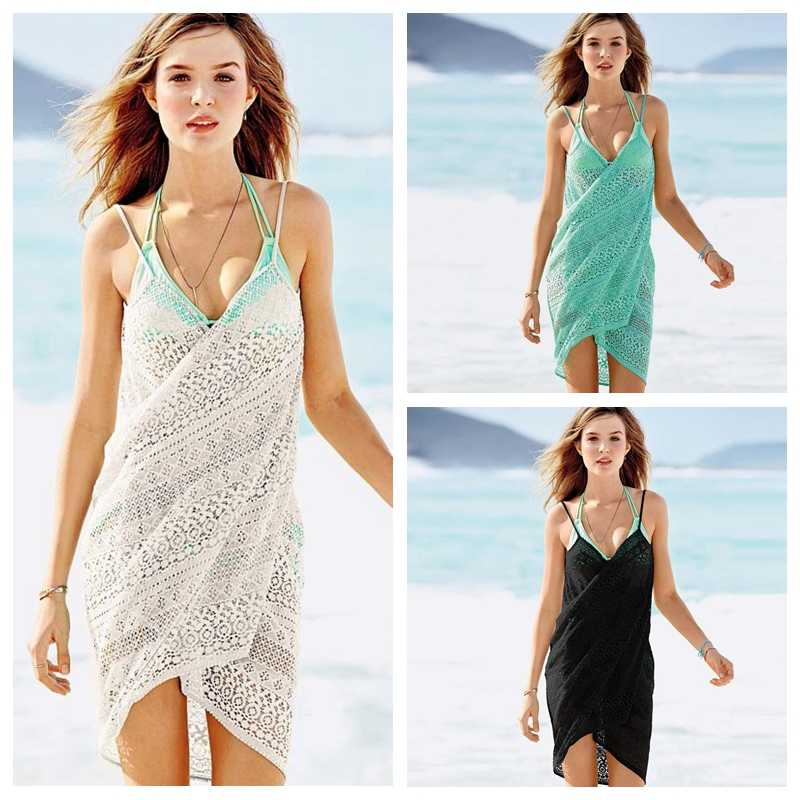 26a345146124d Bikini Cover Up Beach Wrap Slip Dress 2018 Beach Cover up Women Summer Lace  Split Sexy