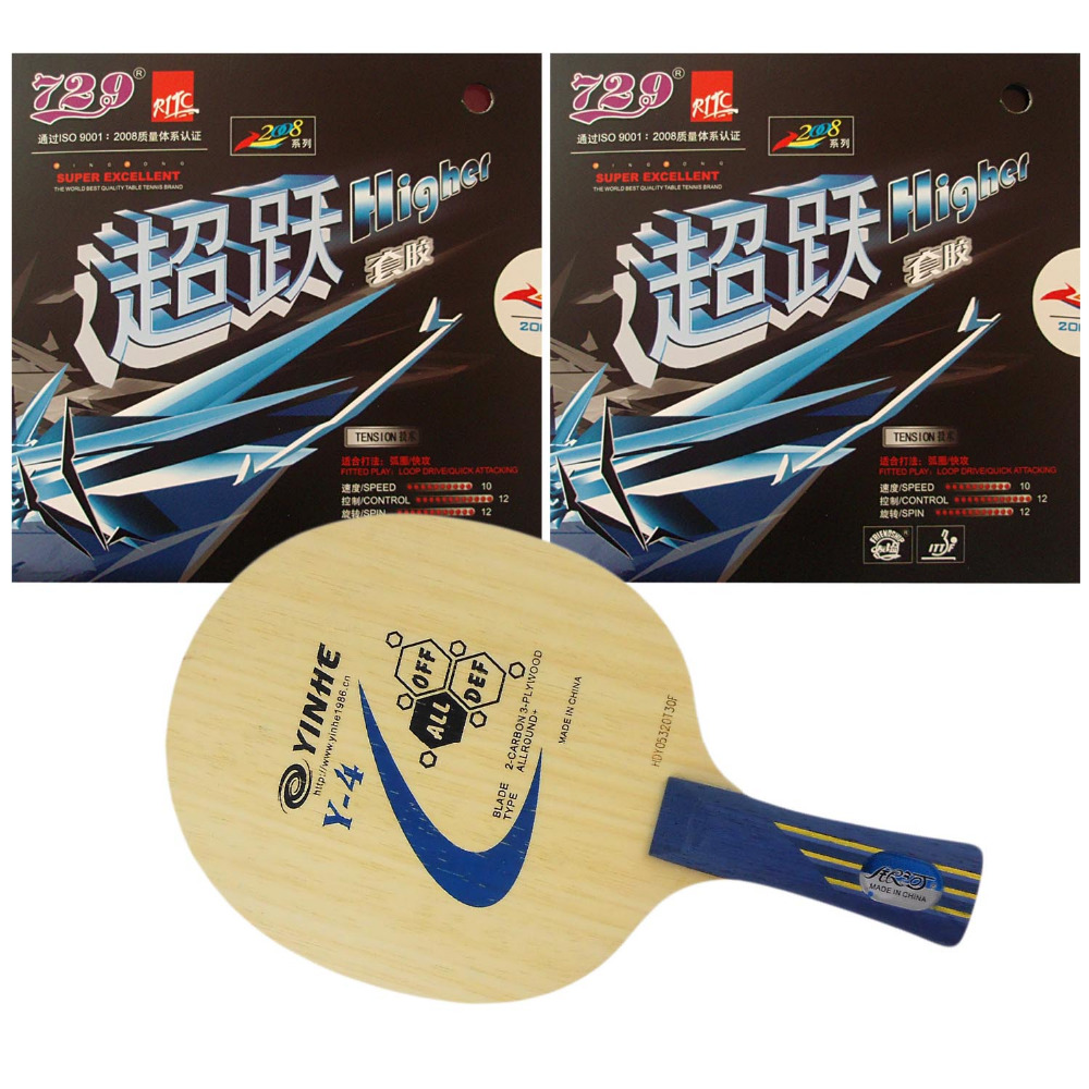 Pro Table Tennis/ PingPong Combo Racket: Galaxy YINHE Y- 4 Blade with 2x RITC729 Higher Rubbers Long Shakehand FL pro table tennis pingpong combo racket ritc729 v 6 blade with 2x transcend cream rubbers shakehand long handle fl