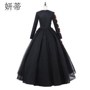 Image 2 - VINTAGE ลูกไม้สีดำแขนยาว Ball Gown Dresses 2019 ดอกไม้ Applique Beading Scoop คอทำจากชุดราตรี