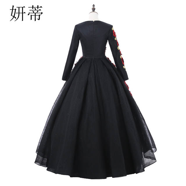 Online Shop Vintage Black Lace Long Sleeve Ball Gown Prom Dresses