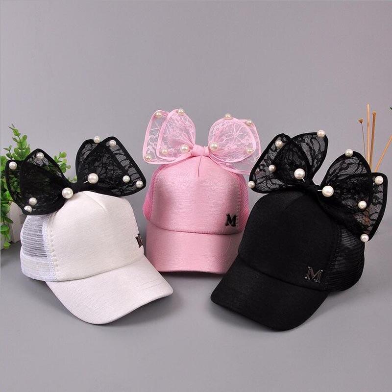 2017 Big Bow New Baseball Cap Lovely Korea Kids Girls Adjustable Net Cap Fashion Cartoon Patten Children Hats Bone