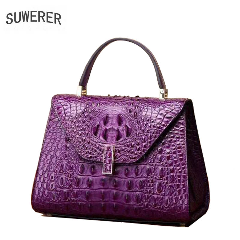 SUWERER 2018 New Superior cowhide women genuine leather bags crocodile pattern Fashion luxury leather tote bag small