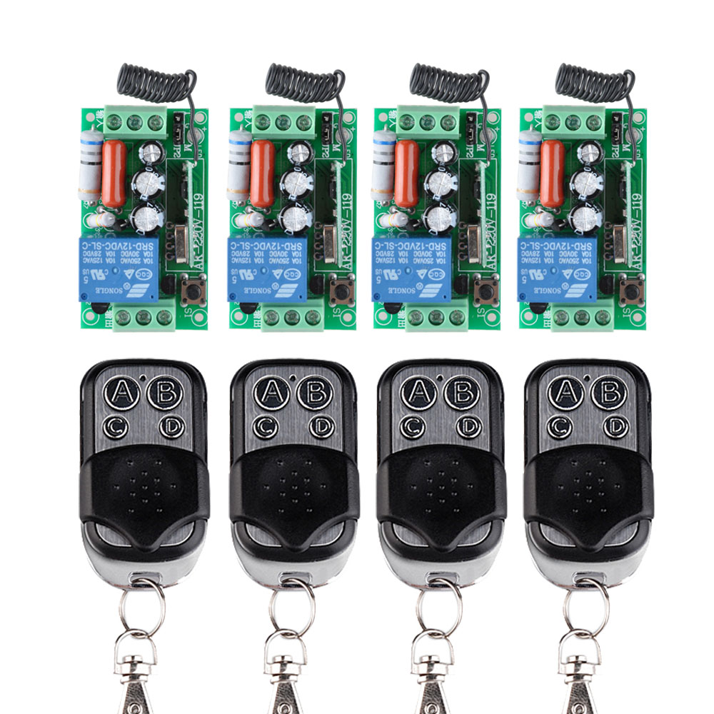 AC 220V 1CH 10A Wireless Remote Control Switch 4 Receiver + 4 Transmitter Learning Code Momentary Toggle Latched Adjusted