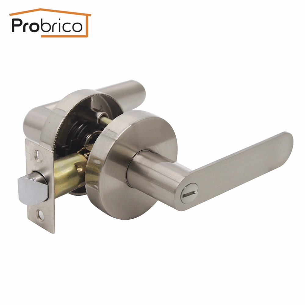 Probrico Stainless Steel Privacy Interior Door Lever Lock Set Brushed Nickel Bathroom Door Handle Bedroom Door Knob DL03SNBK high quality 3pcs door lever handle locks set interior entry door lock living room bedroom bathroom mortise handle lock