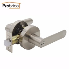Probrico Stainless Steel Privacy Interior Door Lever Lock Set Brushed  Nickel Bathroom Door Handle Bedroom Door Knob DL03SNBK