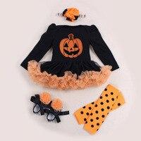4PCs Per Sets Infant Girl Clothes Baby Girl Long Sleeves Halloween Tutu Dress Shoes Leggings Headband