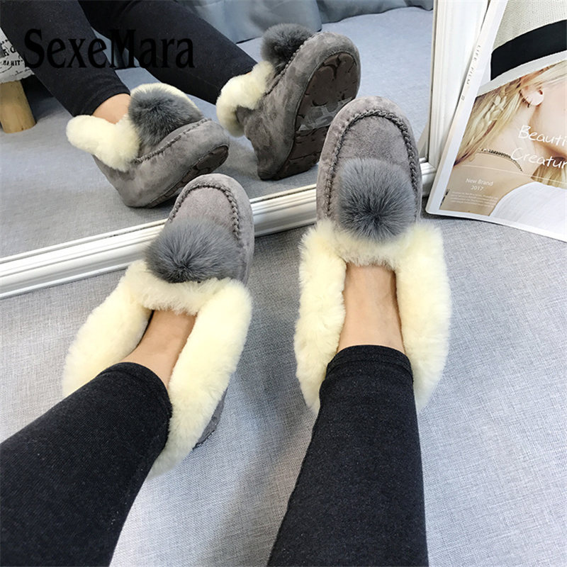 SexeMara Handmade Real Sheepskin Leather Women Snow Boots Wool Fur Mujer Botas Waterproof Winter Shoes for Woman inoe fashion fox fur real sheepskin leather long wool lined thigh suede women winter snow boots high quality botas shoes black