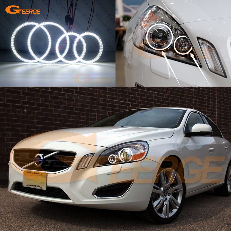 For Volvo S60 V60 2011 2012 2013 XENON HEADLIGHT Excellent Ultra bright illumination smd led Angel Eyes kit DRL