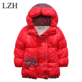 LZH 2016 Winter Girls Jacket For Girls Coat Bowknot Polka Dot Coat Kids Baby Hooded Jackets Warm Outerwear Coat Children Clothes