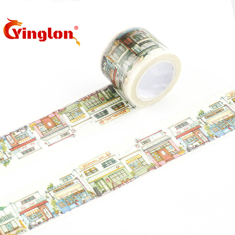 New Designs Streets cape Washi Tape color diary decoration sticker Adhesive Paper Card Decoration Masking Tape DIY tape roll color block geometrical cape
