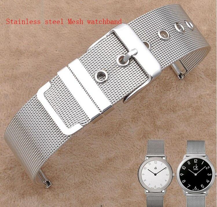 Prix pour 12mm 14mm 16mm 18mm 20mm 22mm 26mm Bracelet en acier inoxydable maille mince pour quartz montres Bracelets pour Heures horloge Promotion