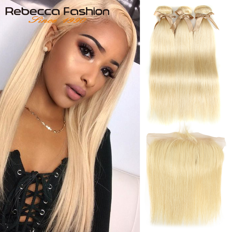 Rebecca 613 Blonde Bundles With Frontal Human Hair Bundles Blonde Peruvian Straight Hair 3 Bundles With Frontal Closure image
