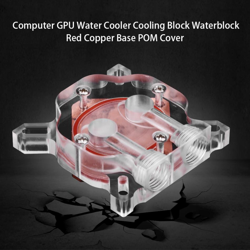 Computer G1/4 GPU Water Cooler Cooling Block Waterblock Red Copper Base POM Cover alloyseed g1 4 thread computer water cooling gpu waterblock cpu radiator cooler for intel lga 1150 1151 1155 1156