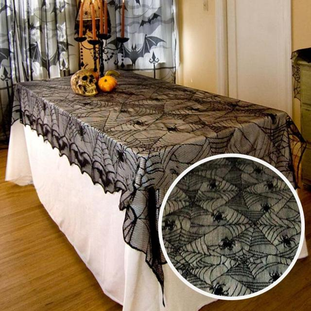 Superbe Vintage Halloween Black Spider Lace Tablecloth Spiderweb Mantle Cover Party  DIY Decoration Table Cloth