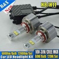 1 компл. Canbus светодиодные фонари 12000lm 120 Вт 6000 К led cre h11 фар авто лампы светодиодные фонари авто h11 свет комплекты