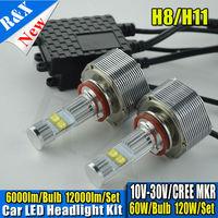 1set Canbus led lights auto 12000lm 120W 6000K led cre h11 auto headlight bulb led lights auto h11 led light kits