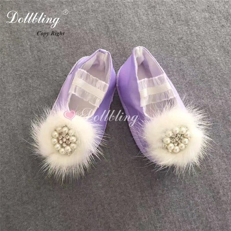 купить Violet Sweet Fur Ball Pearls Orgament Kindergarten Glinda Angel Etsy Pagent Baptism Crib Shoes Bella Satin Sparkle Ballerina дешево