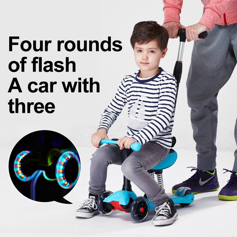 GF03 Children Mini scooter kick scooter with 4 flashing PU wheels 3 files adjust height foot-scooter camoka цена и фото