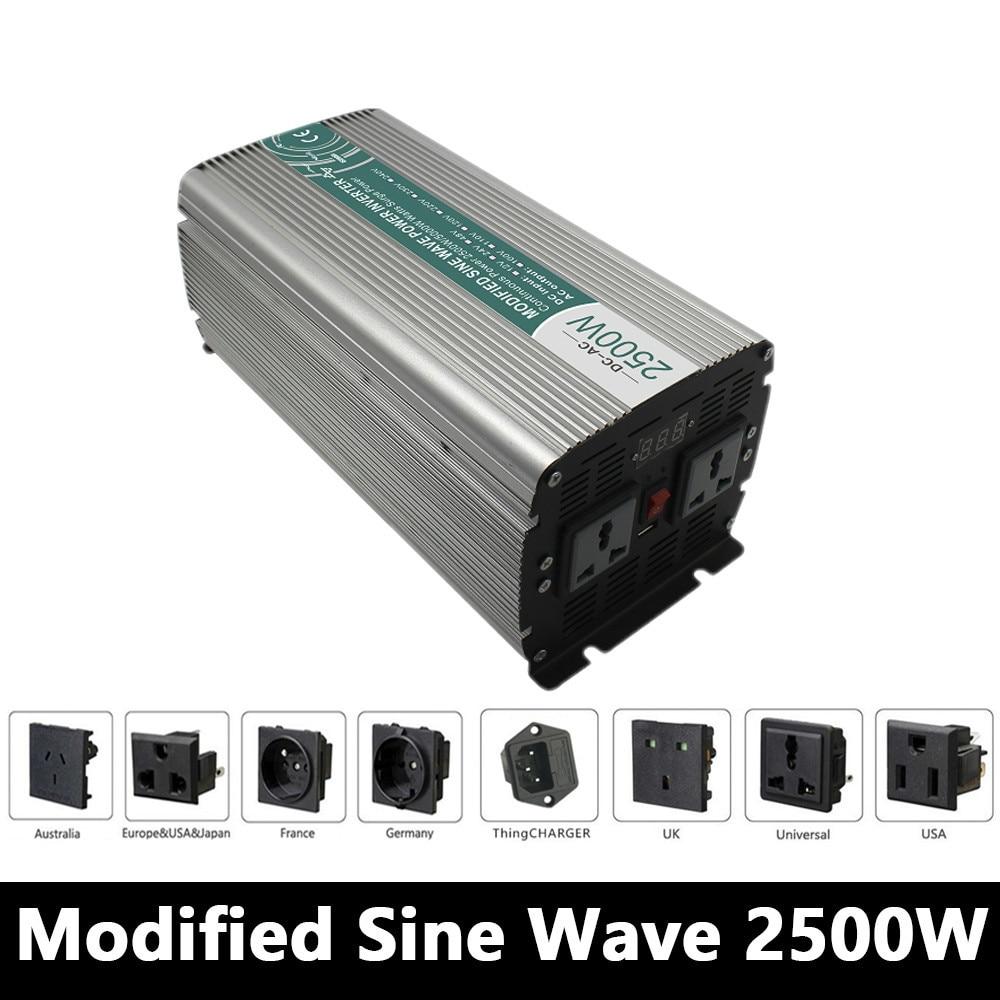 цена на Full Power 2500W Modified Sine Wave Inverter,DC 12V/24V/48V To AC 110V/220V,off Grid Power Inverter Work With Solar Battery