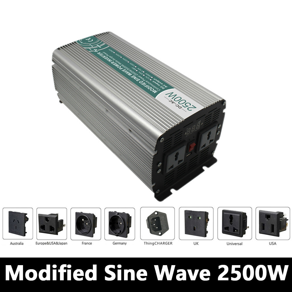 Full Power 2500W Modified Sine Wave Inverter,DC 12V/24V/48V To AC 110V/220V,off Grid Power Inverter Work With Solar Battery mkm2500 241g c dc ac modified sine wave static inverter solar power inverter 2500w 24v 120v power star inverter charger