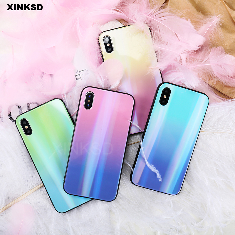 Gradient Aurora Phone Case For iPhone 7 6 6S X 8 Plus Tempered Glass Back Case For iPhone X 10 7 6 Luxury Clear Mirror Cover T5