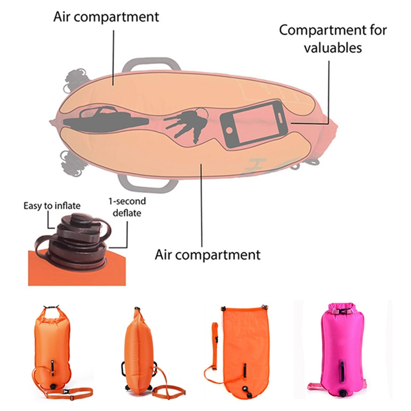 Dry Bag Outdoor Thick Portable Quick Inflatable Buckled Storage Sack Swim Buoy Float Diving Surfing Swimming Drifting Bags