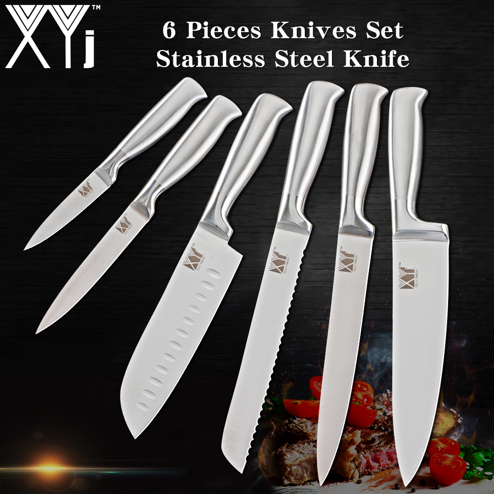 XYj 6PCS Set Stainless Steel Kitchen Knive Sets Fruit Vegetable Bread Meat Knife Non Stick Blade