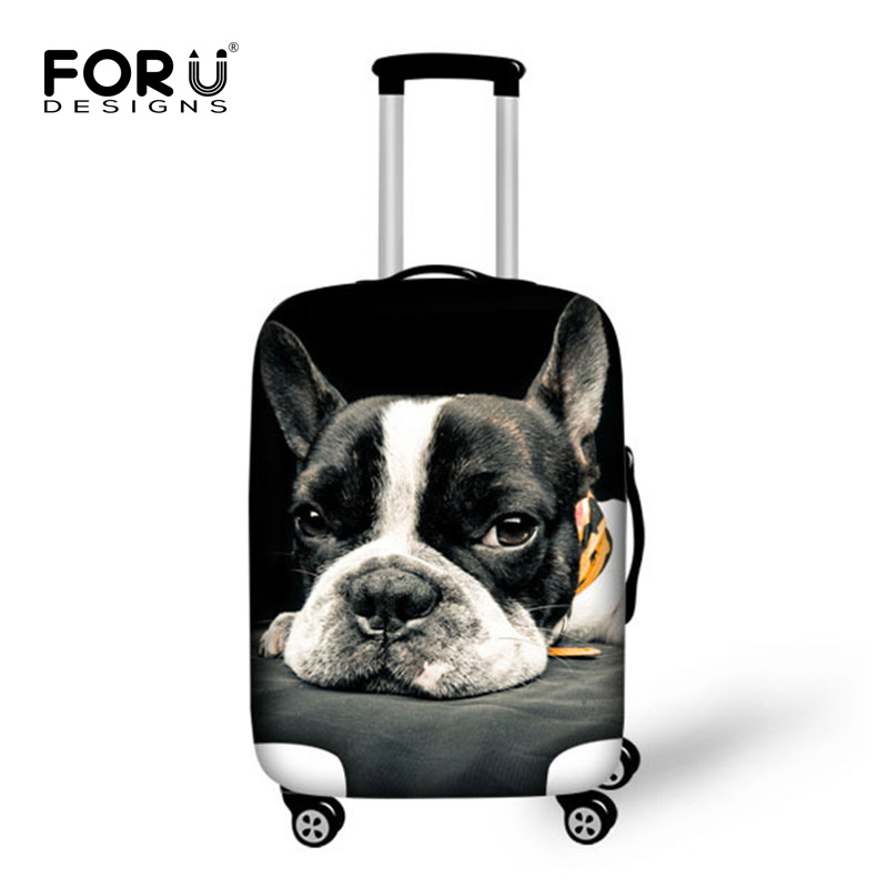 3D Cute French Bulldog Waterproof Luggage Protective Dust Covers Fof 18 20 22 24 26 28 30 inch Trolley Travel Suitcase Elastic bhf 24 26 28 с 18