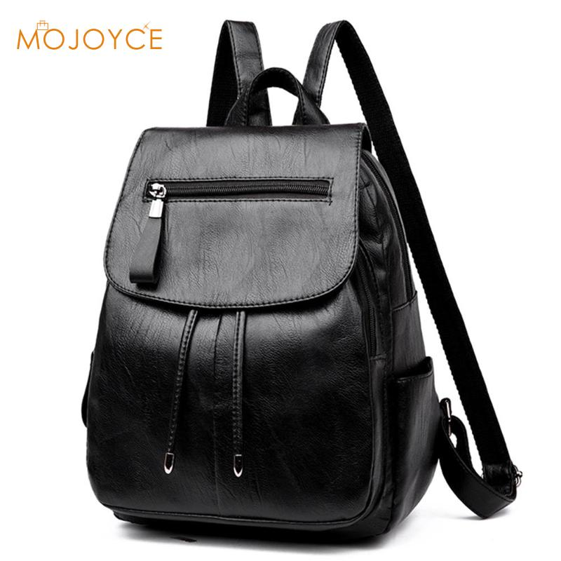 PU Leather Women Backpack Fashion School Bags For Teenager Girls Casual Women Black Backpacks Large Capacity Female Travel Daypa high quality pu leather women backpack fashion solid school bags for teenager girls large capacity casual women black backpack l