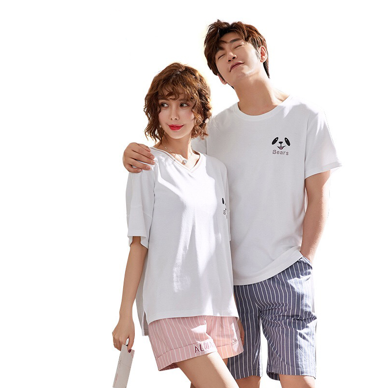 Hot Men Pajamas Sets Couple Pijama Set Biscuit Bear Print Multicolor Short-Sleeve Shirts and Solid Shorts Mujer Leisure Pyjamas ...