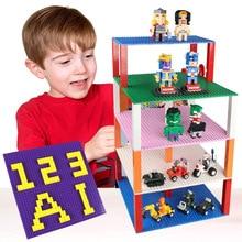 1pcs double sides baseplate 25.5*25.5cm 32*32 dots building brick base 13 colors plate blocks compatible with legoed