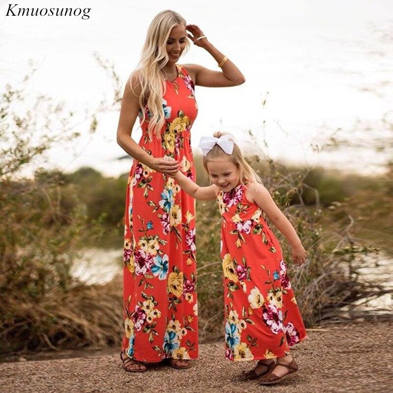 Family-matching-clothes-Slim-Pocket-Boho-Floral-Long-Dress-Mom-and-daughter-dress-mama-hija