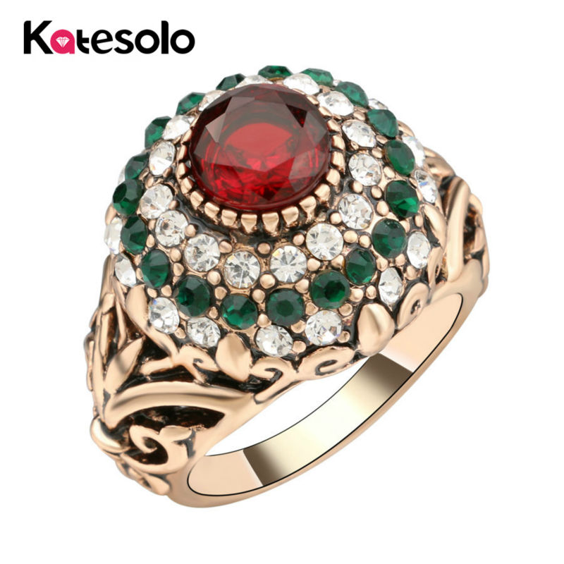 2017 new turkish jewelry gold color vintage big round wedding ring mosaic red crystal ring for