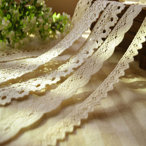 Vestuário tecido de costura 3 metros diy marfim creme guarnição algodão crochê laço tecido casamento decration artesanal acessórios artesanato