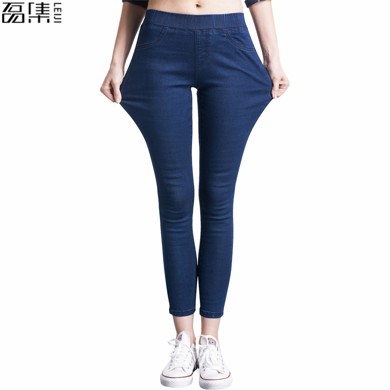 2017   Women Jeans Pant Slim Stretch Casual Cotton  Plus Size Denim Trousers for woman Blue black   6xl jeans men s blue slim fit fashion denim pencil pant high quality hole brand youth pop male cotton casual trousers pant gent life