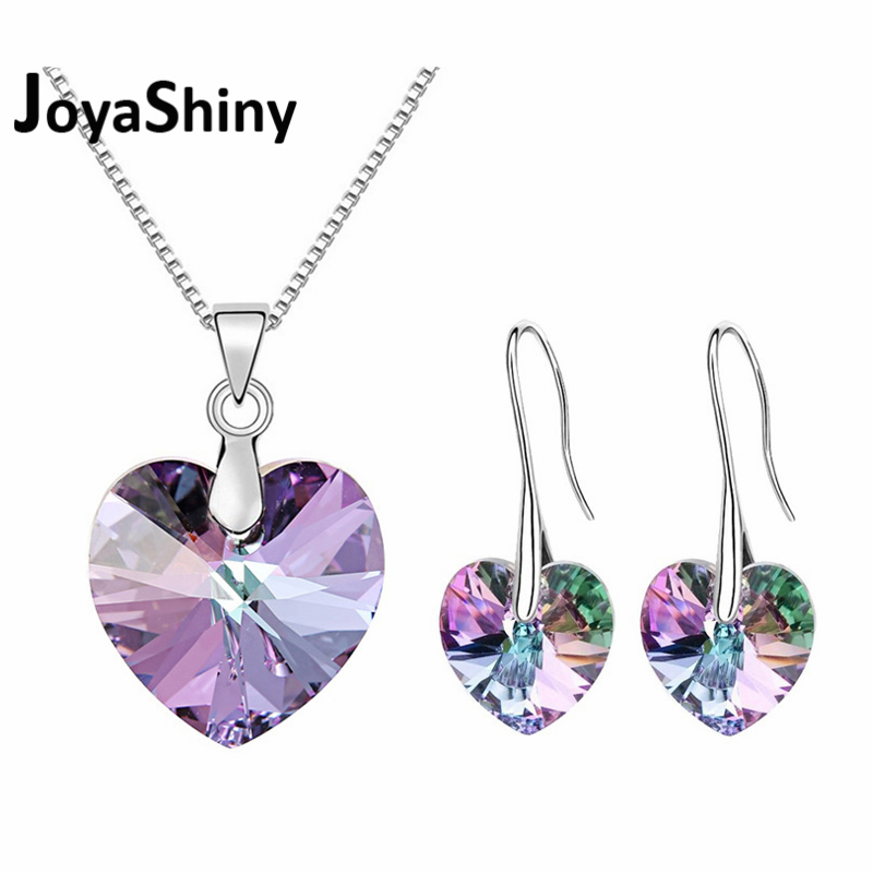 Joyashiny Crystals From Swarovski Classic Romantic Heart Pendant Necklaces Drop Earrings Jewelry Sets For Women Lovers Gift joyashiny crystals from swarovski classic romantic heart pendant necklaces drop earrings jewelry sets for women lovers gift