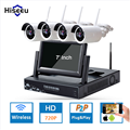 7 Inch Displayer 4CH 720P Wireless CCTV System Wireless NVR IP Camera IR-CUT Bullet Home Security System CCTV Kit Hiseeu