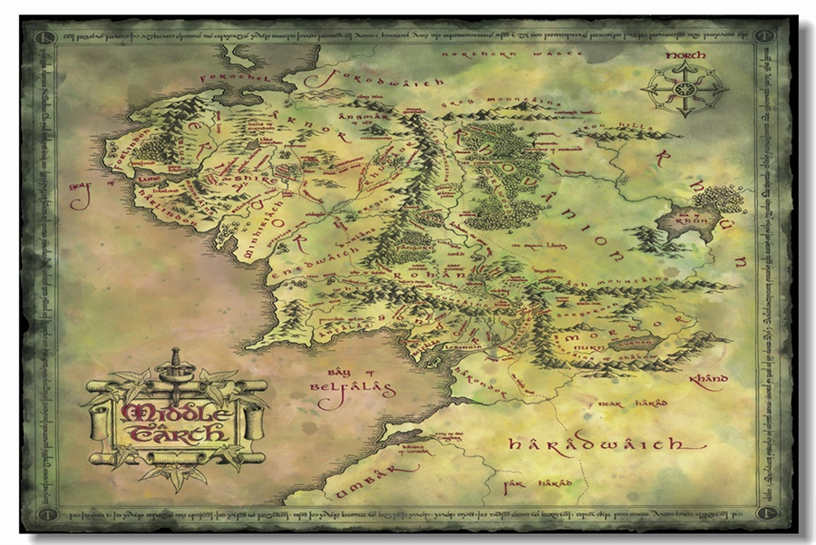 Custom Canvas Wall Decoration World Map Of Middle Earth Poster The ...