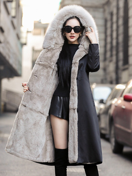 -30℃ Parka Real Fur Coat Female Natural Rabbit Fur Liner Coats Winter Jacket Women Clothes 2020 Fox Fur Collar Warm Parkas