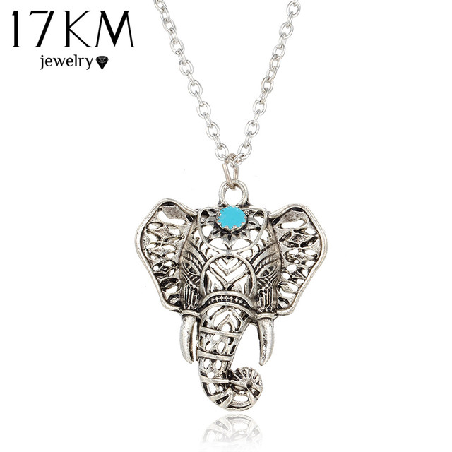 17KM Hot Vintage Elephant Pendant Necklace Boho Antique Blue Stone Choker Neckla