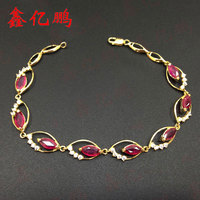 18 k gold inlaid natural ruby bracelet female fashion personality The horse eye shape jewelry on sale