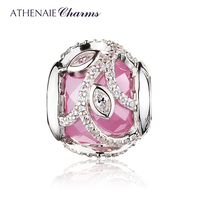 ATHENAIE 925 Sterling Silver Pink Clear CZ Nature's Radiance Charm Beads For Jewelry Making DIY Fit European Bracelets Christmas