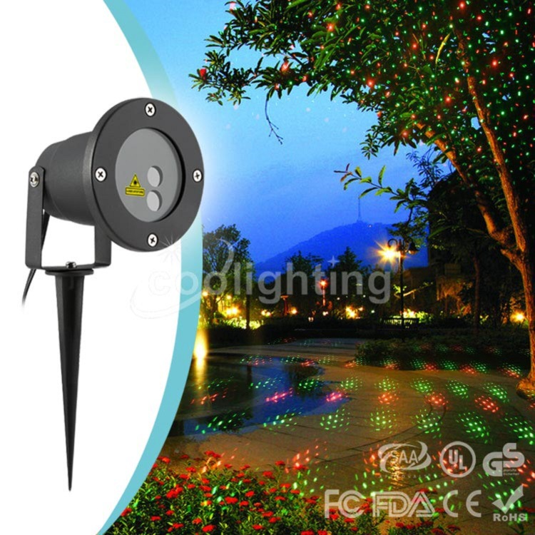 Super bright red and green static stars waterproof outdoor lawn light Christmas landscapelights laser bright stars