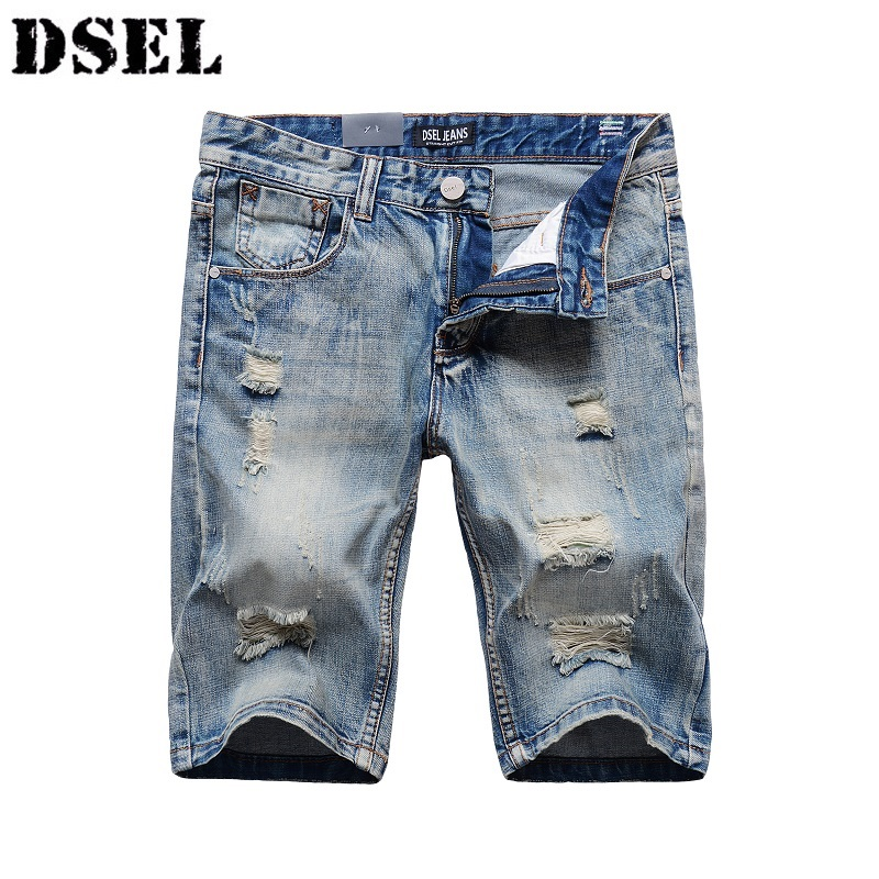 DSEL Hole Jeans Shorts For Men 2017 New Summer Regular Casual Knee Length Short Mens Denim Shorts Bermuda Masculina Pants