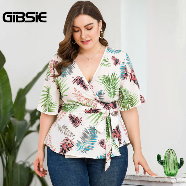 GIBSIE Plus Size Tropical Print V-Neck Belted Wrap Top Blouse Women 2019 Summer Casual Short Sleeve Ladies Blouses Tops