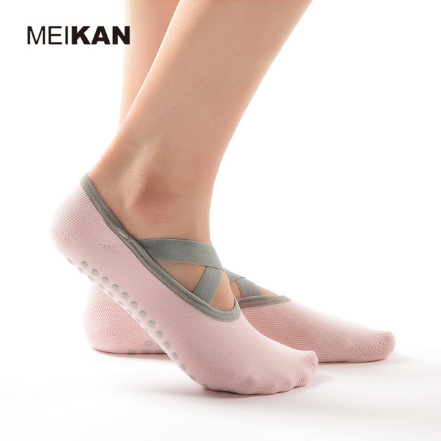Women Combed Cotton Yoga Socks Cross Lace PVC Anti-Skid Particles High-Quality Dance Pilates Yoga Socks