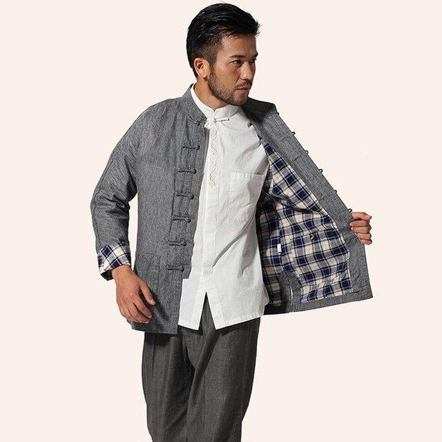 b37ddcf31ed8 Sıcak satış gri çin erkek Mandarin yaka Kung Fu ceket erkekler keten pamuk  ceket geleneksel Tang